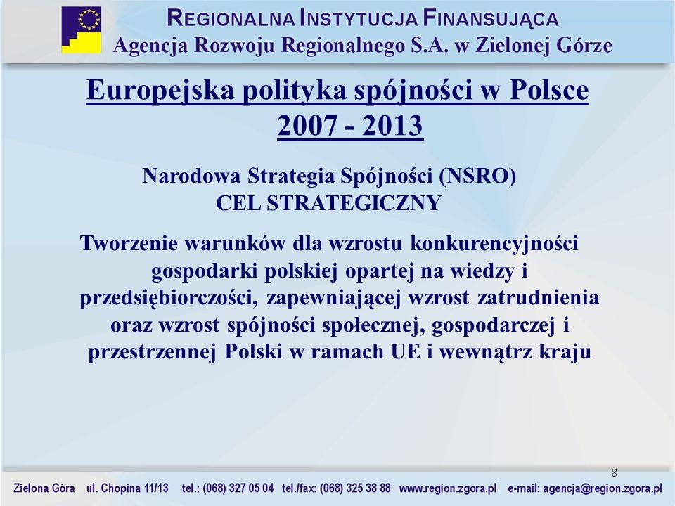 8 Europejska polityka spójności w Polsce 2007 - 2013 Narodowa Strategia Spójności (NSRO) CEL STRATEGICZNY Tworzenie warunków dla wzrostu konkurencyjno