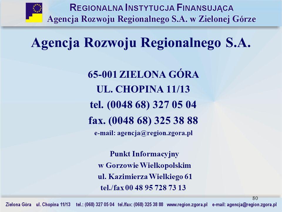 80 65-001 ZIELONA GÓRA UL. CHOPINA 11/13 tel. (0048 68) 327 05 04 fax. (0048 68) 325 38 88 e-mail: agencja@region.zgora.pl Punkt Informacyjny w Gorzow