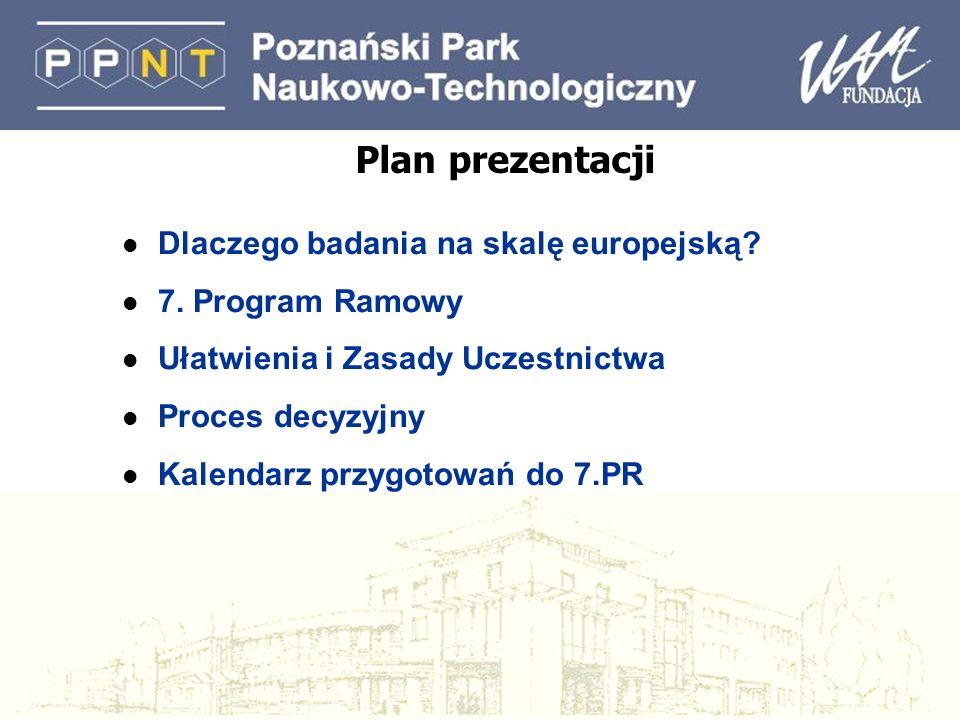 Plan prezentacji l Dlaczego badania na skalę europejską? l 7. Program Ramowy l Ułatwienia i Zasady Uczestnictwa l Proces decyzyjny l Kalendarz przygot