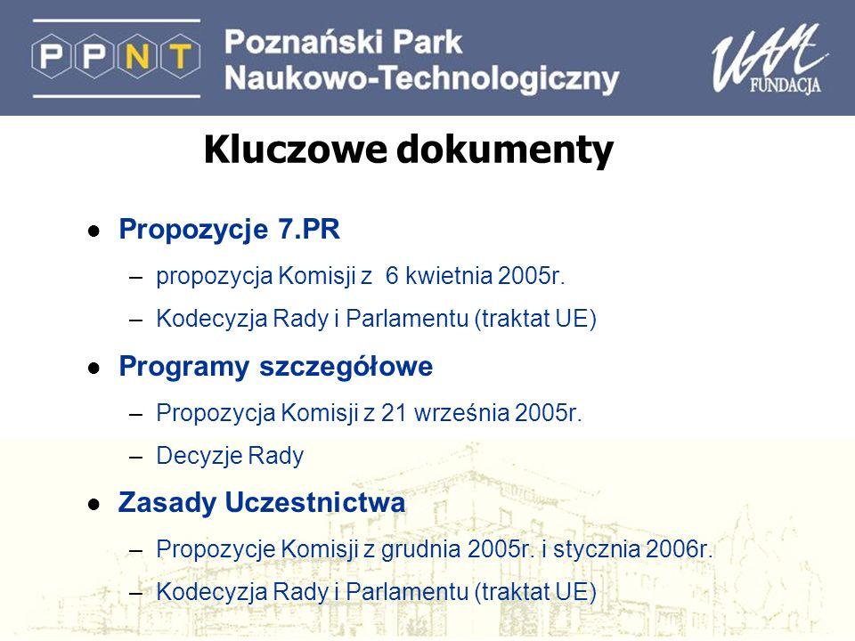 Kluczowe dokumenty l Propozycje 7.PR –propozycja Komisji z 6 kwietnia 2005r. –Kodecyzja Rady i Parlamentu (traktat UE) l Programy szczegółowe –Propozy