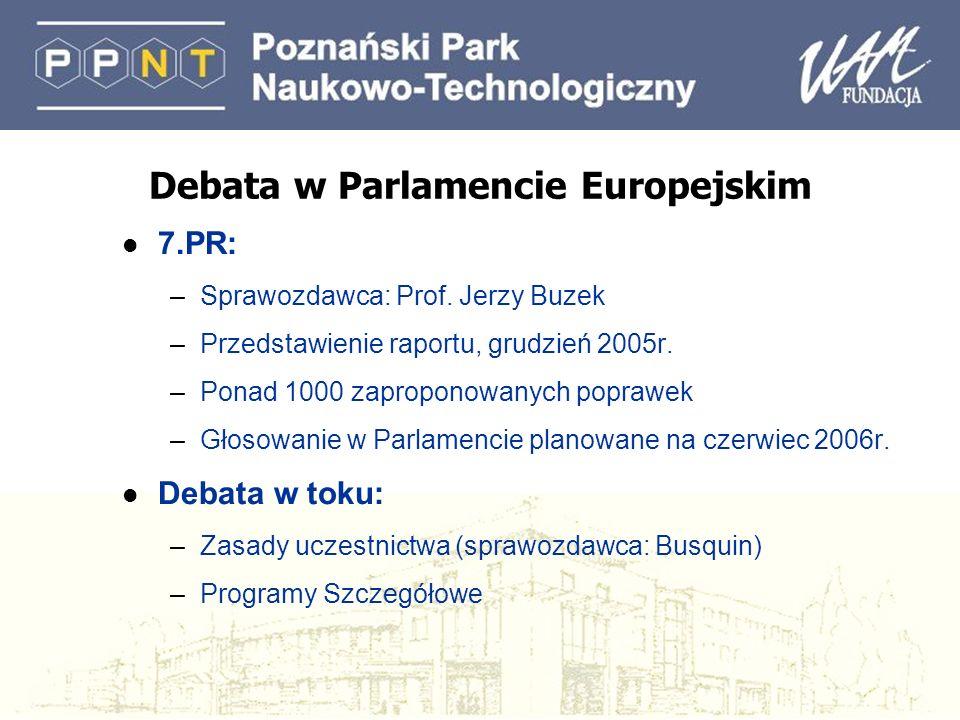 Debata w Parlamencie Europejskim l 7.PR: –Sprawozdawca: Prof. Jerzy Buzek –Przedstawienie raportu, grudzień 2005r. –Ponad 1000 zaproponowanych poprawe