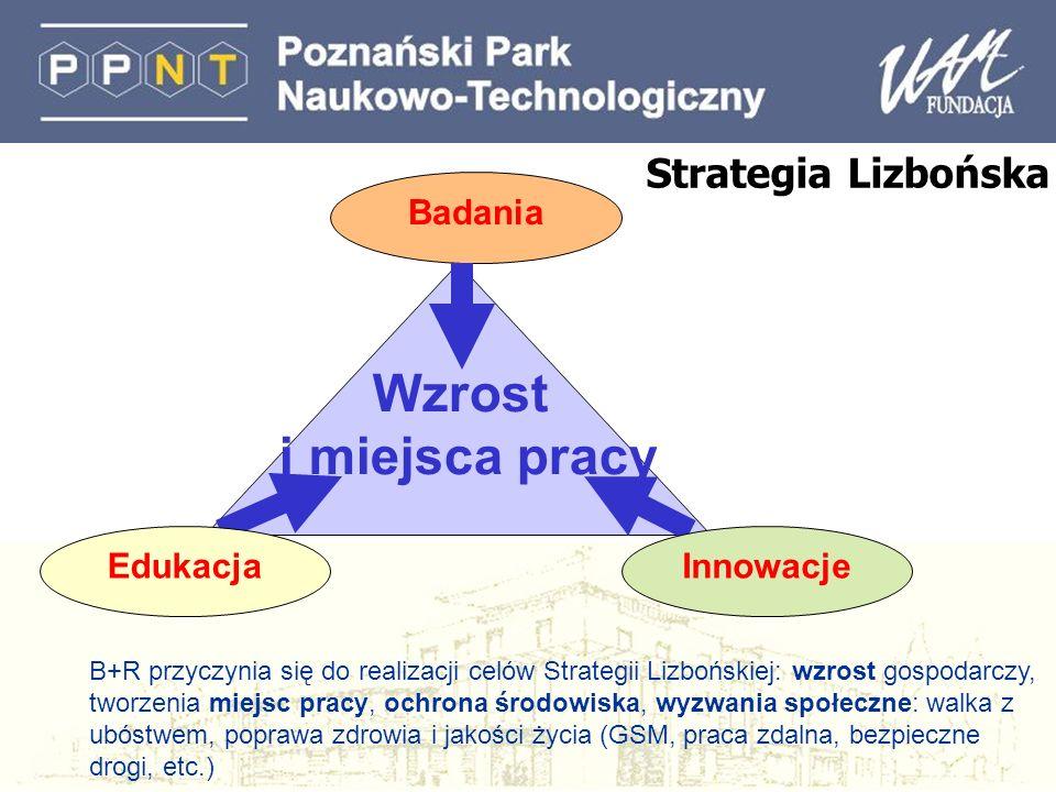 Strategia Lizbońska Badania Wzrost i miejsca pracy EdukacjaInnowacje B+R przyczynia się do realizacji celów Strategii Lizbońskiej: wzrost gospodarczy,