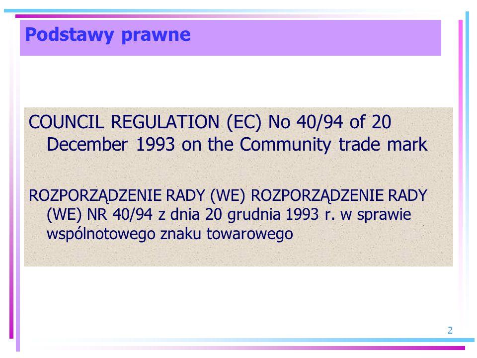 2 Podstawy prawne COUNCIL REGULATION (EC) No 40/94 of 20 December 1993 on the Community trade mark ROZPORZĄDZENIE RADY (WE) ROZPORZĄDZENIE RADY (WE) N