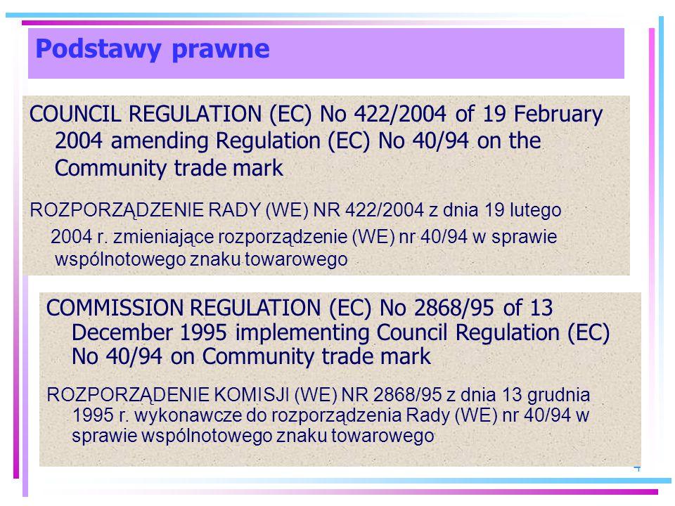 4 COUNCIL REGULATION (EC) No 422/2004 of 19 February 2004 amending Regulation (EC) No 40/94 on the Community trade mark ROZPORZĄDZENIE RADY (WE) NR 42