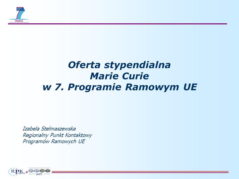 Stypendia Marie Curie Szkolenie początkujących naukowców - Sieci Marie Curie [Initial Training Networks (ITN)] Szkolenie początkujących naukowców - Sieci Marie Curie [Initial Training Networks (ITN)] Kształcenie ustawiczne i rozwój kariery - dla doświadczonych naukowców - Indywidualne stypendia europejskie [Intra-European Fellowships for Career Development (IEF)] - Europejskie granty reintegracyjne [European Reintegration Grants (ERG)] Kształcenie ustawiczne i rozwój kariery - dla doświadczonych naukowców - Indywidualne stypendia europejskie [Intra-European Fellowships for Career Development (IEF)] - Europejskie granty reintegracyjne [European Reintegration Grants (ERG)] Rozwój współpracy między przemysłem a środowiskiem akademickim - Projekty Marie Curie na współpracę przemysł – nauka [Marie Curie Industry-Academia Partnerships and Pathways (IAPP)] Rozwój współpracy między przemysłem a środowiskiem akademickim - Projekty Marie Curie na współpracę przemysł – nauka [Marie Curie Industry-Academia Partnerships and Pathways (IAPP)] Projekty Marie Curie na współpracę instytucjonalną z krajami trzecimi - Indywidualne stypendia wyjazdowe poza Europę [International Outgoing Fellowships for Career Development (IOF)] - Indywidualne stypendia przyjazdowe do Europy (International Incoming Fellowships (IIF) - Międzynarodowe granty reintegracyjne (International Reintegration Grants (IRG) Projekty Marie Curie na współpracę instytucjonalną z krajami trzecimi - Indywidualne stypendia wyjazdowe poza Europę [International Outgoing Fellowships for Career Development (IOF)] - Indywidualne stypendia przyjazdowe do Europy (International Incoming Fellowships (IIF) - Międzynarodowe granty reintegracyjne (International Reintegration Grants (IRG) Działania szczegółowe Nagrody Marie Curie /Researchers Night/ Polityka dot.