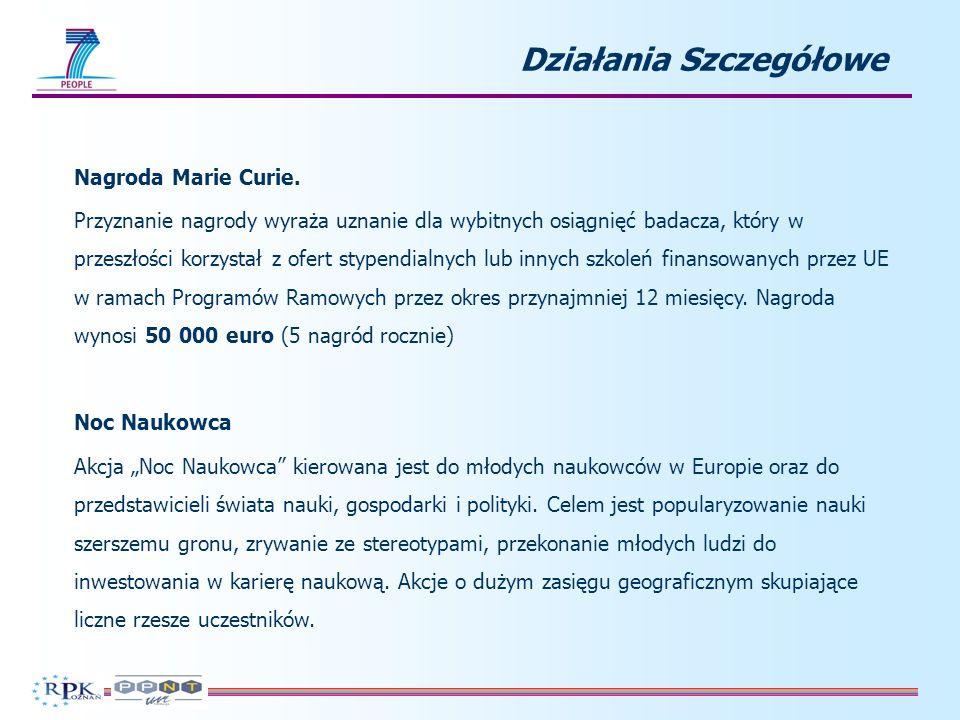 Działania Szczegółowe Nagroda Marie Curie.