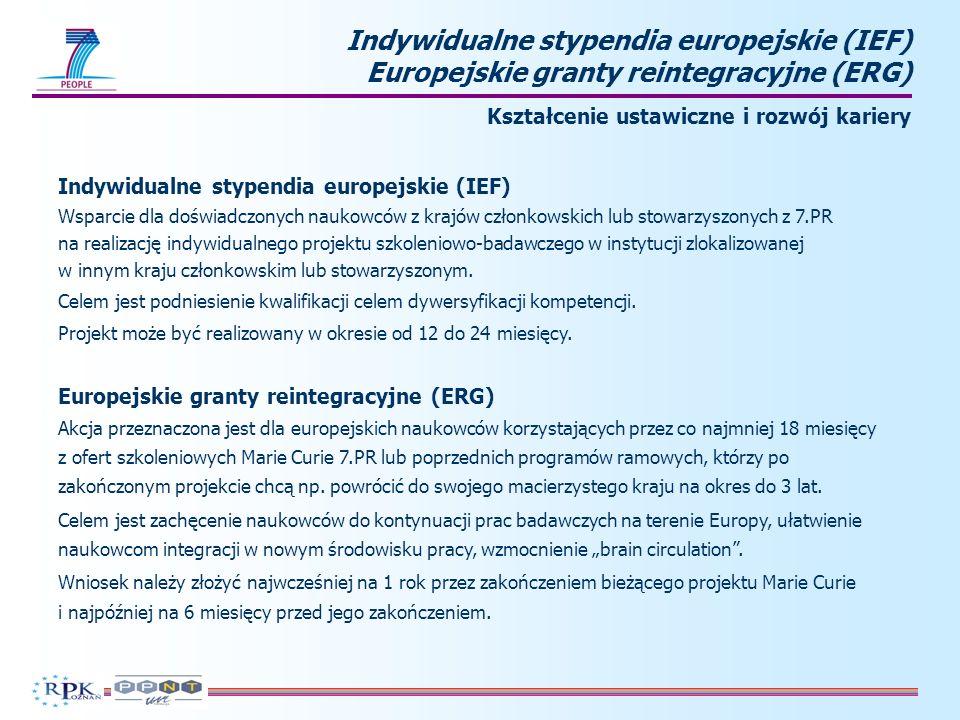 Projekty Marie Curie na współpracę przemysł – nauka (IAPP) Współpraca pomiędzy sektorem nauki i przemysłu Cel akcji: Wypracowanie długoterminowej współpracy między środowiskiem akademickim, przemysłem i MŚP, uaktywnienie mobilności między sektorami oraz zwiększenie wymiany wiedzy poprzez partnerstwo w zakresie badań.