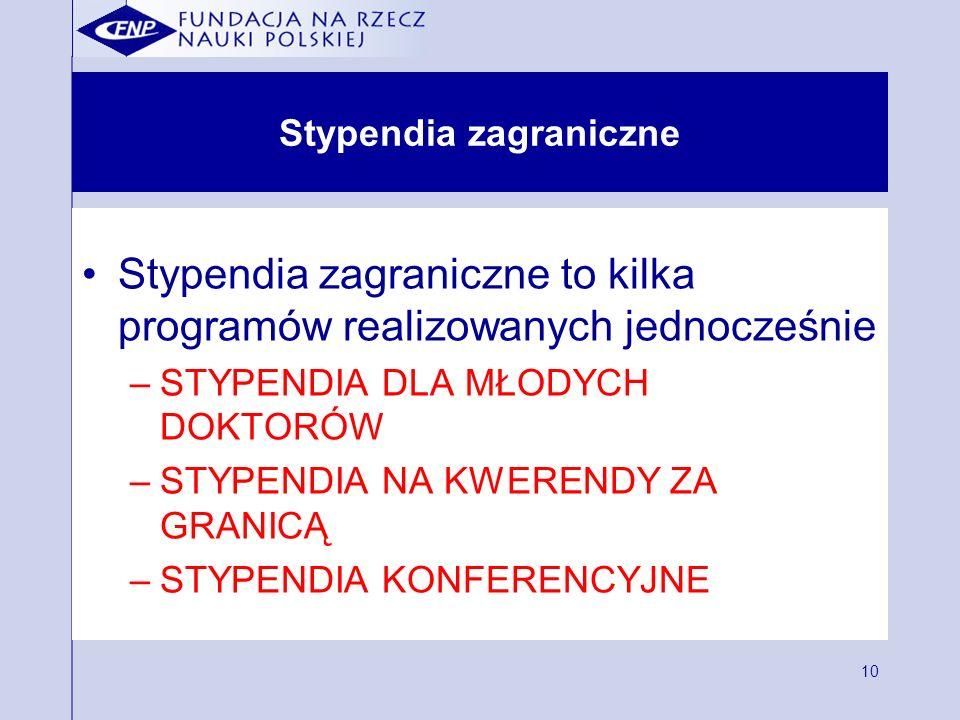 10 Stypendia zagraniczne Stypendia zagraniczne to kilka programów realizowanych jednocześnie –STYPENDIA DLA MŁODYCH DOKTORÓW –STYPENDIA NA KWERENDY ZA GRANICĄ –STYPENDIA KONFERENCYJNE