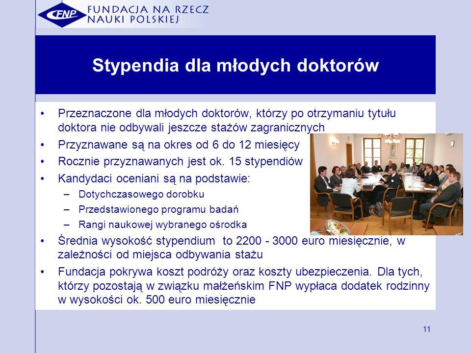 11 Stypendia dla młodych doktorów Przeznaczone dla młodych doktorów, którzy po otrzymaniu tytułu doktora nie odbywali jeszcze stażów zagranicznych Prz