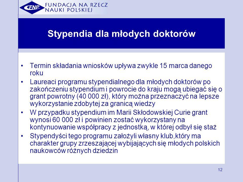 12 Stypendia dla młodych doktorów Termin składania wniosków upływa zwykle 15 marca danego roku Laureaci programu stypendialnego dla młodych doktorów p
