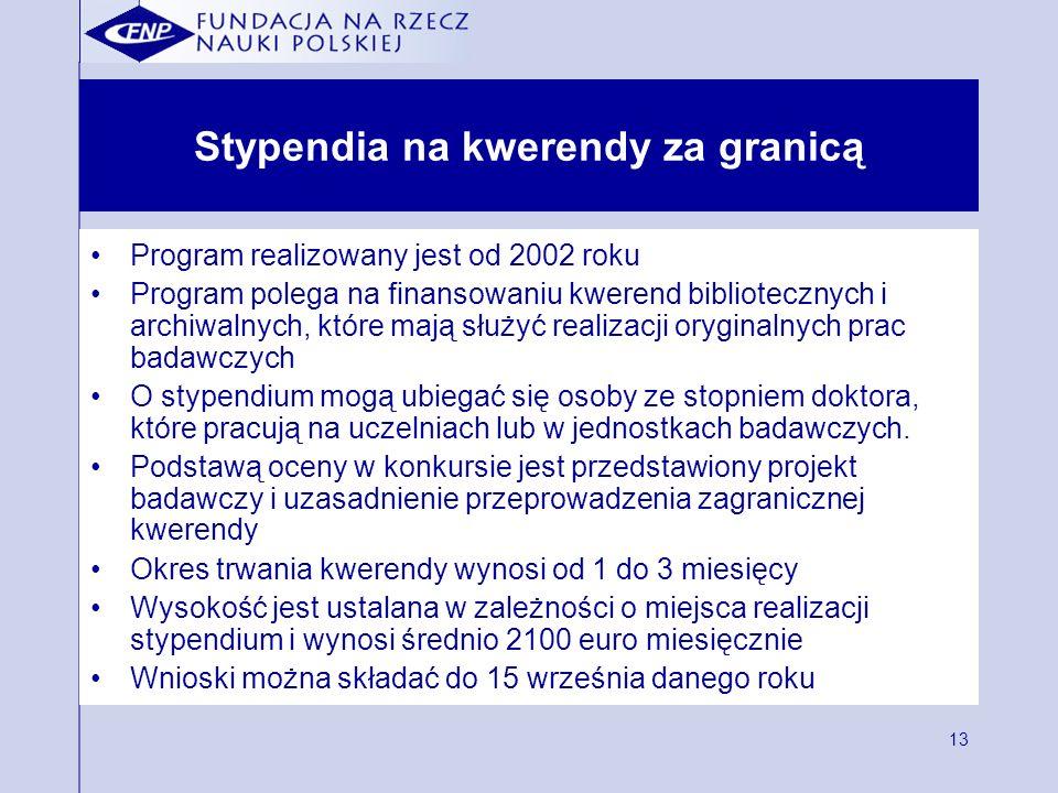 13 Stypendia na kwerendy za granicą Program realizowany jest od 2002 roku Program polega na finansowaniu kwerend bibliotecznych i archiwalnych, które