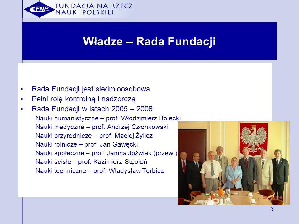3 Władze – Rada Fundacji Rada Fundacji jest siedmioosobowa Pełni rolę kontrolną i nadzorczą Rada Fundacji w latach 2005 – 2008 Nauki humanistyczne – prof.