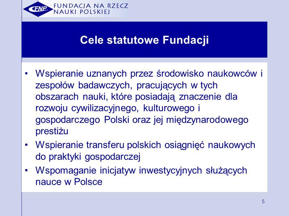 5 Cele statutowe Fundacji Wspieranie uznanych przez środowisko naukowców i zespołów badawczych, pracujących w tych obszarach nauki, które posiadają znaczenie dla rozwoju cywilizacyjnego, kulturowego i gospodarczego Polski oraz jej międzynarodowego prestiżu Wspieranie transferu polskich osiągnięć naukowych do praktyki gospodarczej Wspomaganie inicjatyw inwestycyjnych służących nauce w Polsce