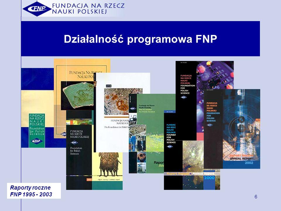 6 Działalność programowa FNP Raporty roczne FNP 1995 - 2003