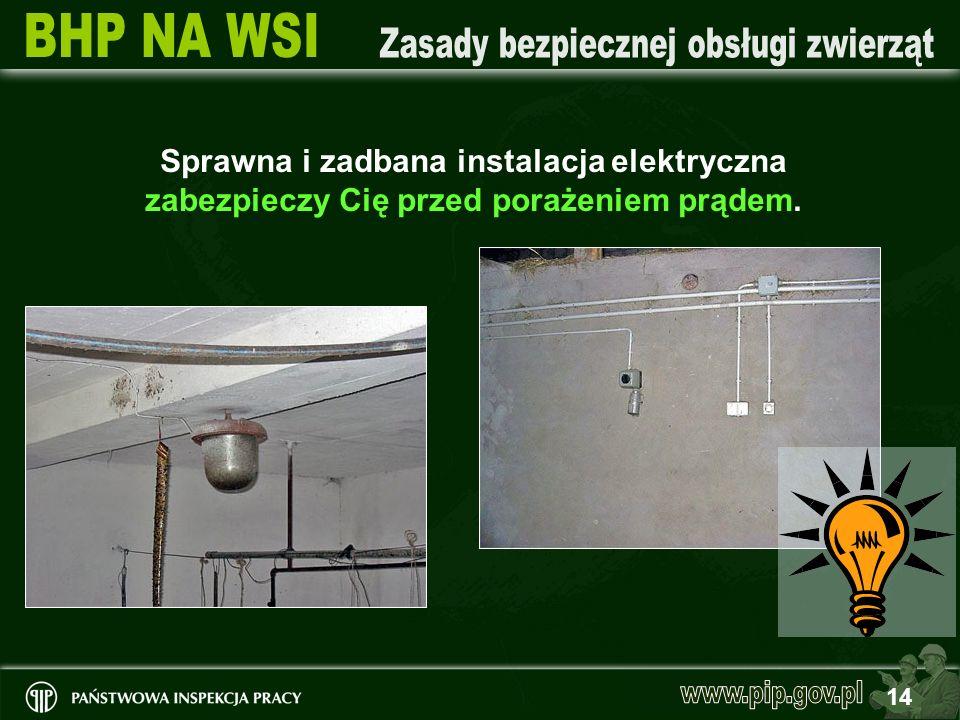 14 Sprawna i zadbana instalacja elektryczna zabezpieczy Cię przed porażeniem prądem.