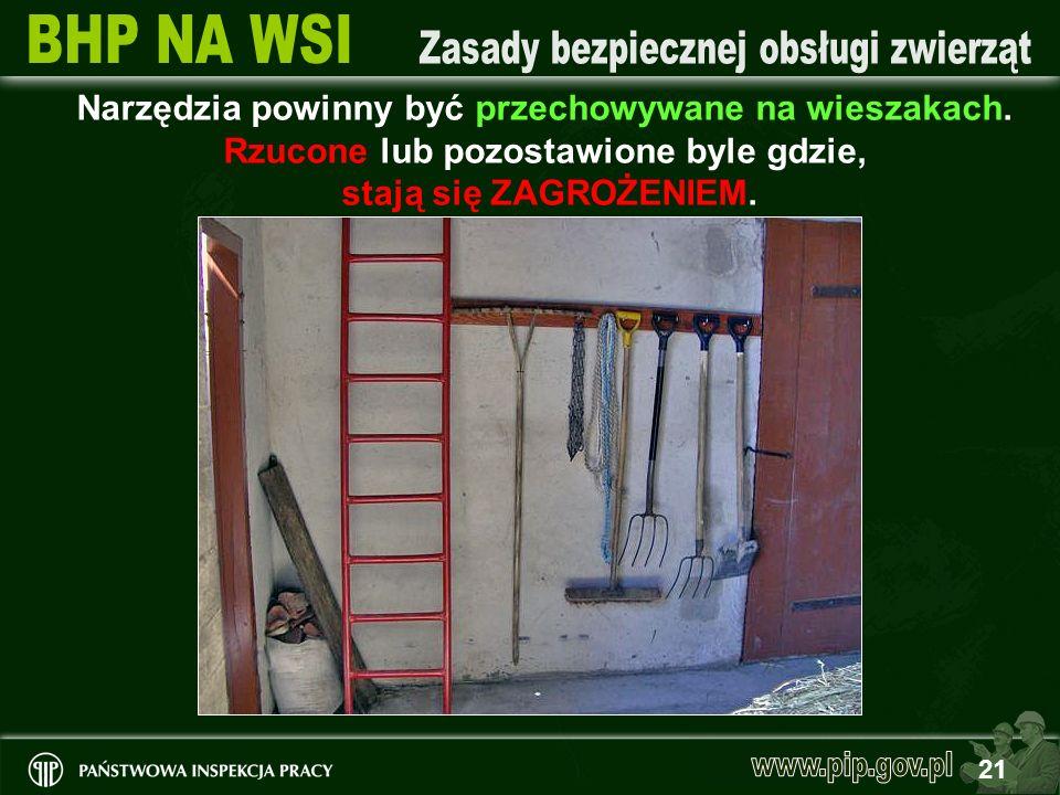 21 Narzędzia powinny być przechowywane na wieszakach. Rzucone lub pozostawione byle gdzie, stają się ZAGROŻENIEM.