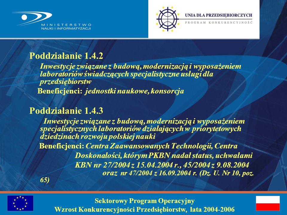 Identyfikacja problemu : Wzmocnienie współpracy między sferą badawczo-rozwojową a gospodarką oraz poprawa poziomu i zakresu badań naukowych dzięki budowie, modernizacji lub wyposażeniu specjalistycznych laboratoriów Sektorowy Program Operacyjny Wzrost Konkurencyjności Przedsiębiorstw, lata 2004-2006