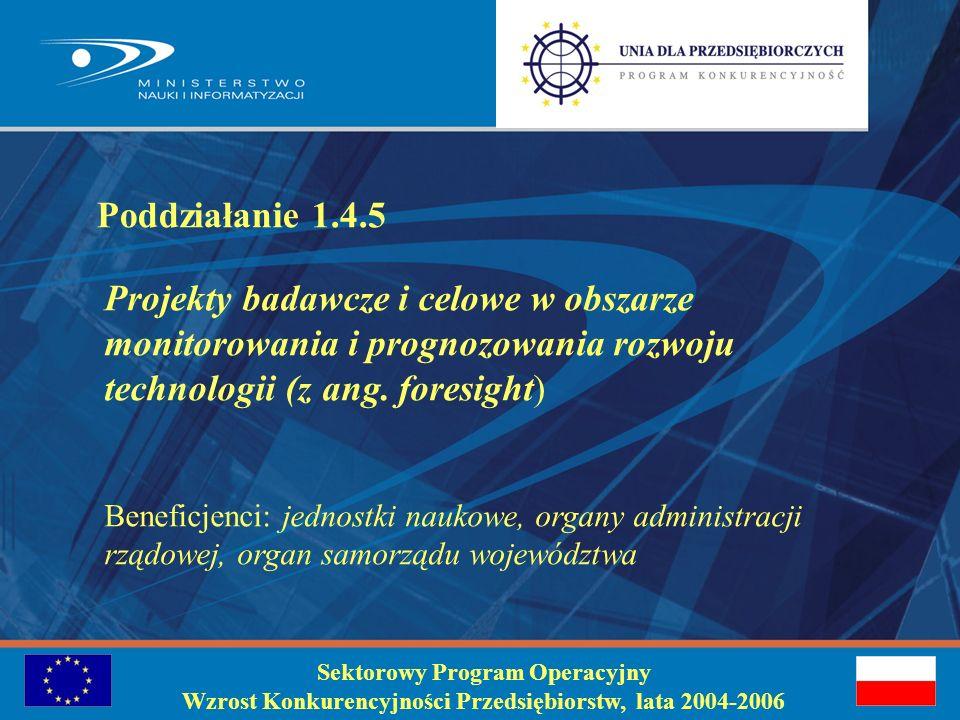 Identyfikacja problemu Sektorowy Program Operacyjny Wzrost Konkurencyjności Przedsiębiorstw, lata 2004-2006 Konieczność wykonania prac badawczych i studialnych lub rozwojowych w zakresie wspierania budowy programu rozwoju gospodarczego w oparciu o rozwój technologii, zarówno na poziomie makro- jak i mikro-gospodarczym.