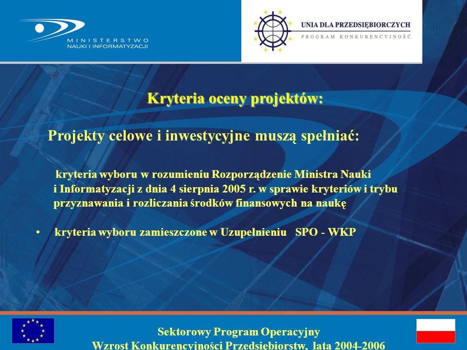 Procedura oceny wniosków : ocena formalna – MNiI, Departament Badań na Rzecz Gospodarki ocena techniczno-ekonomiczna i merytoryczna - Zespół Interdyscyplinarny-Grupa Robocza do oceny wniosków współfinansowanych z FS powołany przez Ministra Nauki - decyzja o zapewnieniu publicznego wkładu krajowego oraz o umieszczeniu na liście rankingowej wniosków rekomendowanych do dofinansowania z funduszy strukturalnych Komitet Sterujący SPO – WKP – lista projektów rekomendowanych do dofinansowania z FS Minister Gospodarki i Pracy – zatwierdzenie listy projektów objętych dofinansowaniem z FS Sektorowy Program Operacyjny Wzrost Konkurencyjności Przedsiębiorstw, lata 2004-2006
