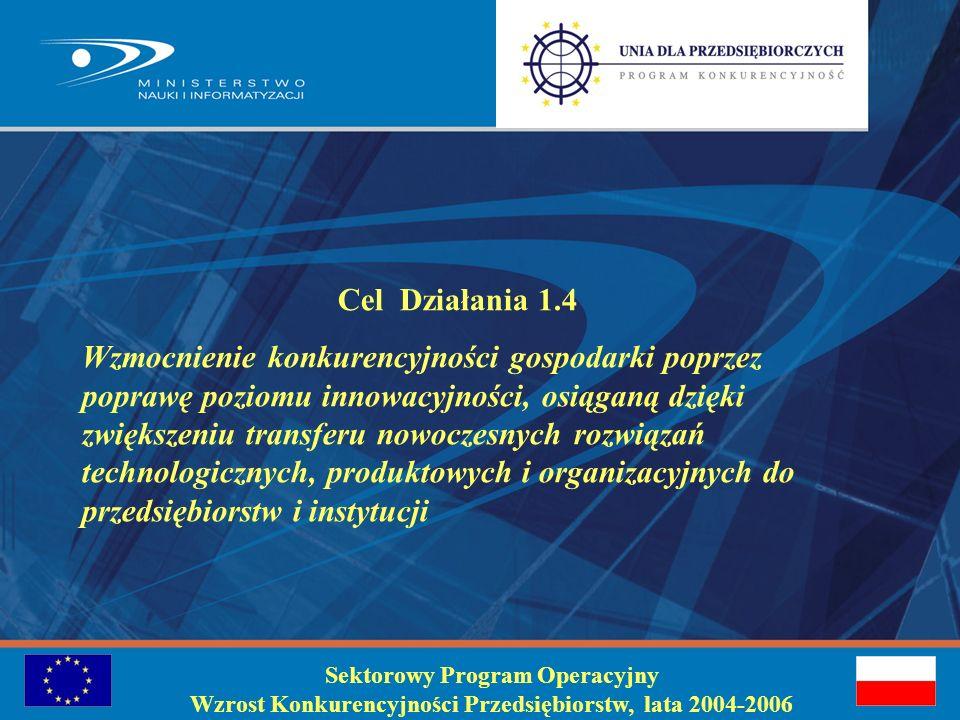 Sektorowy Program Operacyjny Wzrost Konkurencyjności Przedsiębiorstw, lata 2004-2006 Cel Działania 1.4 Wzmocnienie konkurencyjności gospodarki poprzez poprawę poziomu innowacyjności, osiąganą dzięki zwiększeniu transferu nowoczesnych rozwiązań technologicznych, produktowych i organizacyjnych do przedsiębiorstw i instytucji