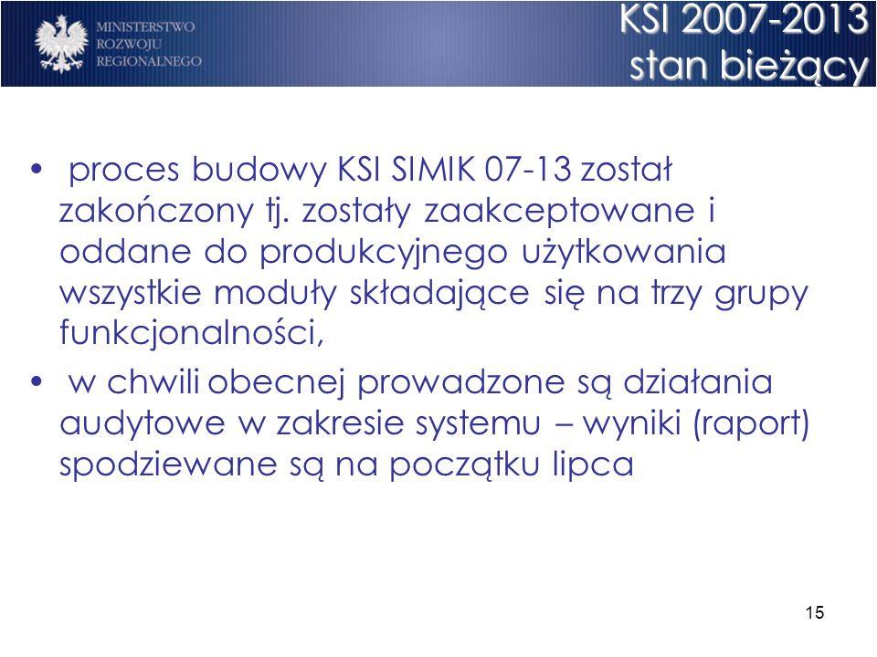 15 KSI 2007-2013 stan bieżący proces budowy KSI SIMIK 07-13 został zakończony tj. zostały zaakceptowane i oddane do produkcyjnego użytkowania wszystki