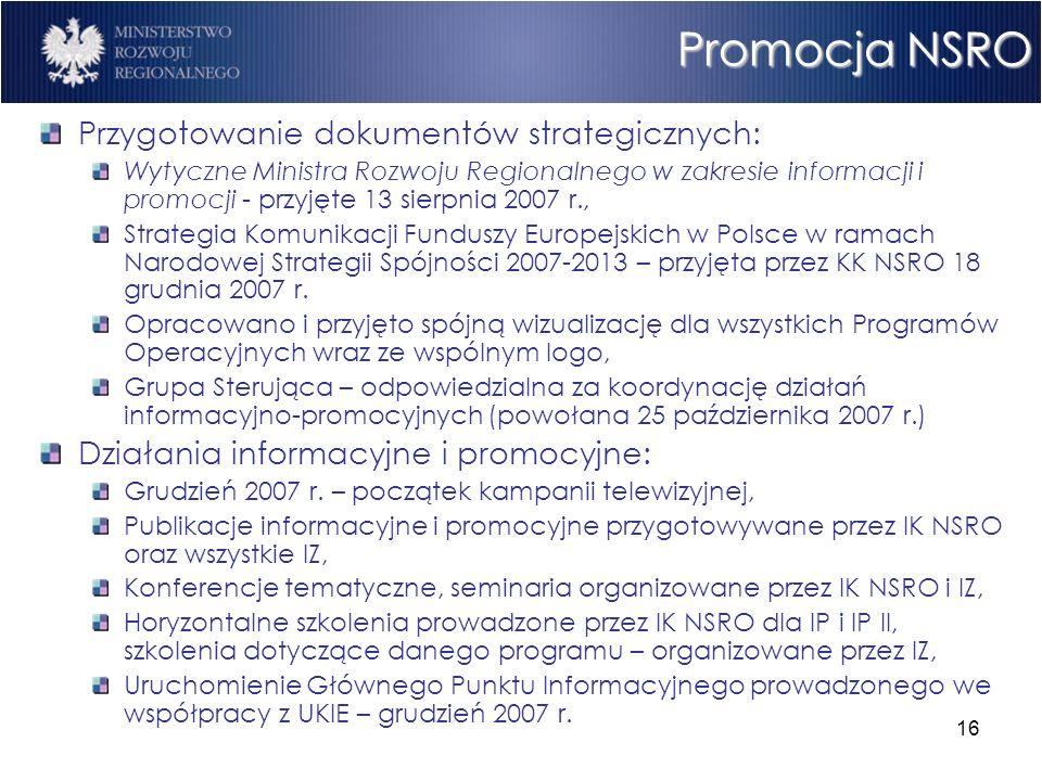 16 Promocja NSRO Przygotowanie dokumentów strategicznych: Wytyczne Ministra Rozwoju Regionalnego w zakresie informacji i promocji - przyjęte 13 sierpn