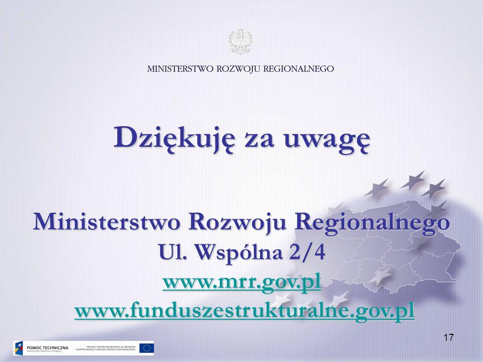 17 Ministerstwo Rozwoju Regionalnego Ul. Wspólna 2/4 www.mrr.gov.pl www.funduszestrukturalne.gov.pl www.mrr.gov.plwww.funduszestrukturalne.gov.pl www.