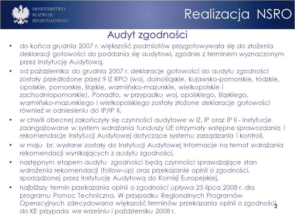 3 Realizacja NSRO Audyt zgodności do końca grudnia 2007 r. większość podmiotów przygotowywała się do złożenia deklaracji gotowości do poddania się aud