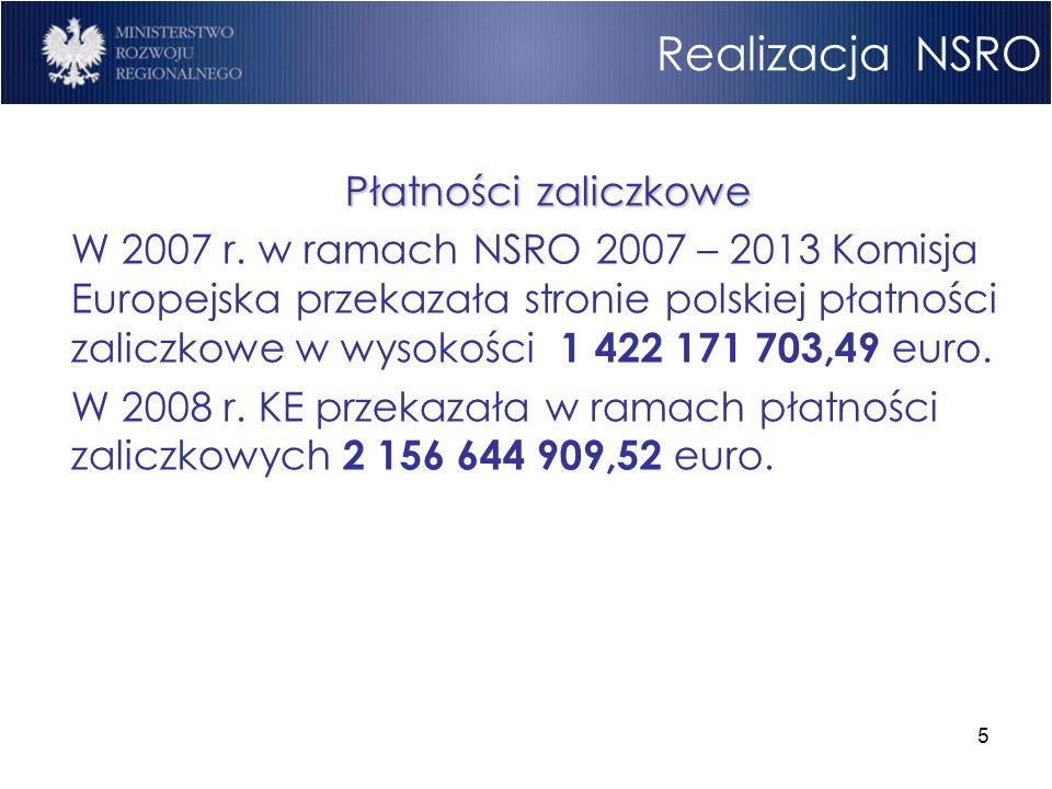 5 Realizacja NSRO Płatności zaliczkowe W 2007 r. w ramach NSRO 2007 – 2013 Komisja Europejska przekazała stronie polskiej płatności zaliczkowe w wysok