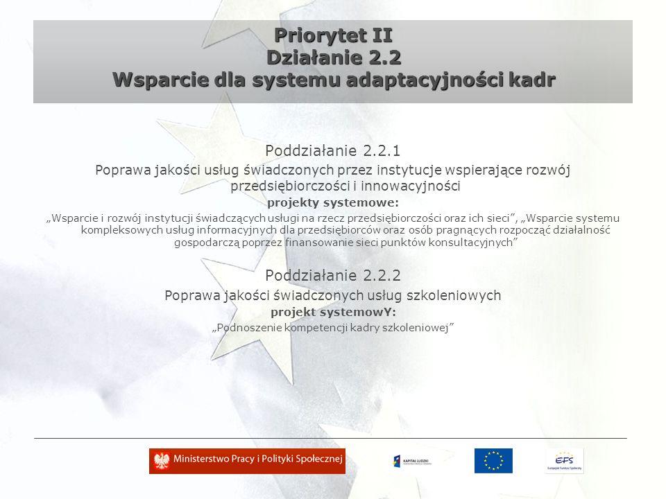Priorytet II Działanie 2.3 Wzmocnienie potencjału zdrowia osób pracujących oraz poprawa jakości funkcjonowania systemu ochrony zdrowia Poddziałanie 2.3.1 Opracowanie kompleksowych programów zdrowotnych projekty systemowe: Opracowywanie kompleksowego programu profilaktycznego przystosowanego do potrzeb poszczególnych grup pracowników/grup zawodowych, w szczególności ukierunkowanych na redukcję występowania chorób zawodowych, Opracowanie kompleksowego programu ukierunkowanego na powrót do pracy określonych grup pracowników/grup zawodowych ze stwierdzonymi chorobami zawodowymi, oraz/lub osób po długotrwałej nieobecności do pracy spowodowanej chorobami pośrednio związanymi z warunkami pracy Poddziałanie 2.3.2 Doskonalenie zawodowe kadr medycznych projekty systemowe: Kształcenie w ramach procesu specjalizacji lekarzy deficytowych specjalności tj.