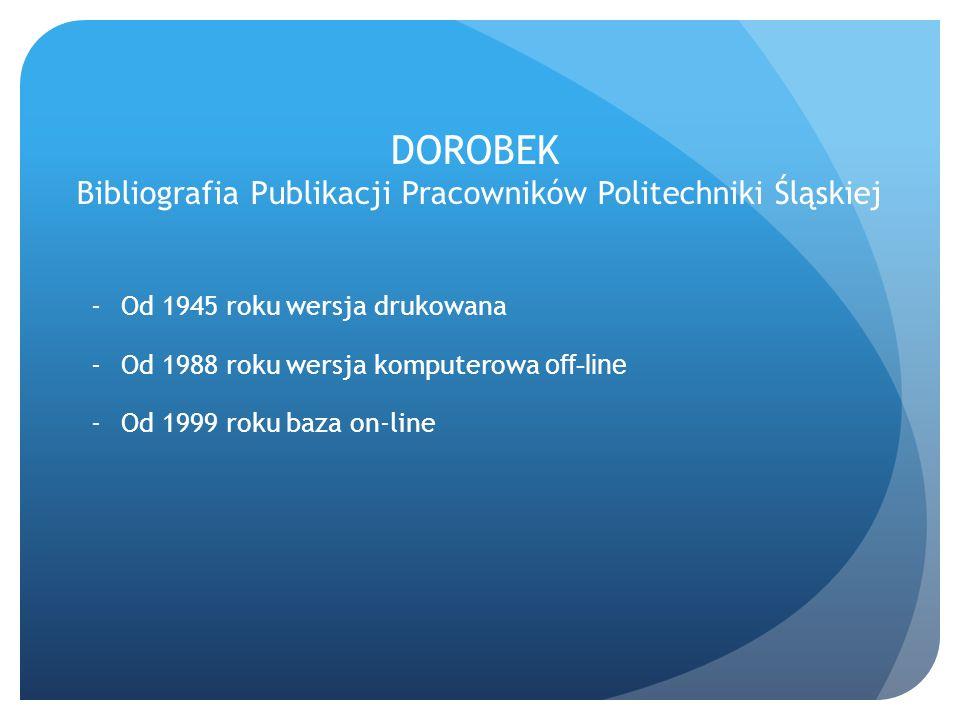 DOROBEK Bibliografia Publikacji Pracowników Politechniki Śląskiej -Od 1945 roku wersja drukowana -Od 1988 roku wersja komputerowa off-line -Od 1999 ro