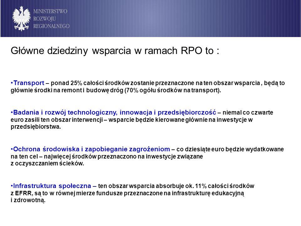 Badania i rozwój technologiczny, innowacje, Badania i rozwój technologiczny, innowacje, przedsiębiorczość RPO województwoŚrodki publiczne UE/EFRR (MEUR) % alokacji na RPO Dolnośląskie303,625,03 Kujawsko-pomorskie252,0226,5 Lubelskie285,0324,66 Lubuskie97,8522,28 Łódzkie215,721,44 Małopolskie314,624,38 Mazowieckie430,423,50 Opolskie140.832,96 Podkarpackie257,822,69 Podlaskie160,325,20 Pomorskie185,921,00 Śląskie376,721,99 Świętokrzyskie181,525,00 Warmińsko-mazurskie235,222,69 Wielkopolskie292,723,00 Zachodniopomorskie232,827,86 OGÓŁEM3 962,923,94