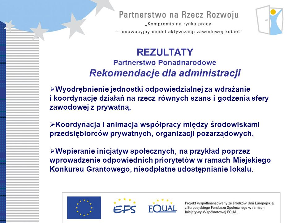 REZULTATY Partnerstwo Ponadnarodowe Rekomendacje dla administracji Wyodrębnienie jednostki odpowiedzialnej za wdrażanie i koordynację działań na rzecz równych szans i godzenia sfery zawodowej z prywatną, Koordynacja i animacja współpracy między środowiskami przedsiębiorców prywatnych, organizacji pozarządowych, Wspieranie inicjatyw społecznych, na przykład poprzez wprowadzenie odpowiednich priorytetów w ramach Miejskiego Konkursu Grantowego, nieodpłatne udostępnianie lokalu.
