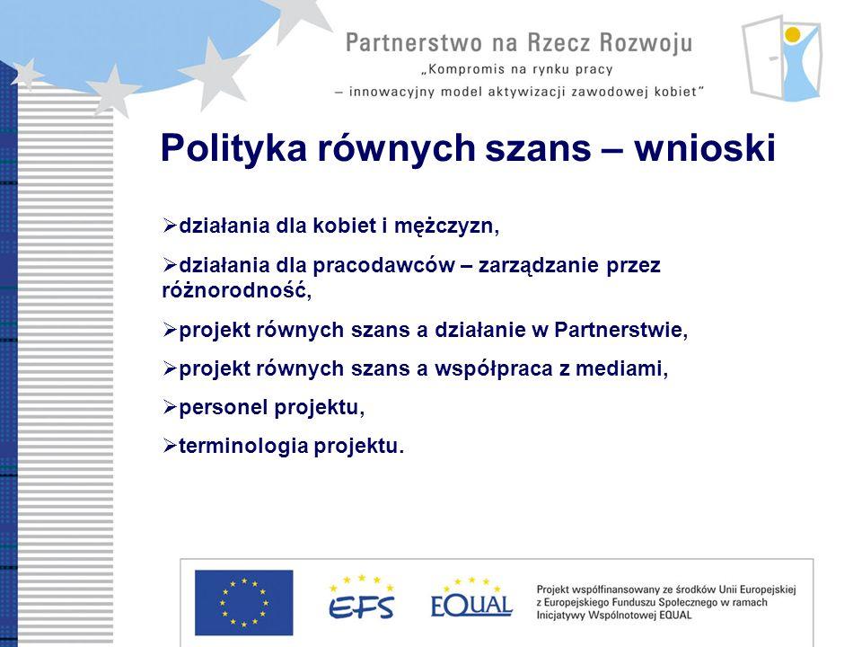Polityka równych szans – wnioski działania dla kobiet i mężczyzn, działania dla pracodawców – zarządzanie przez różnorodność, projekt równych szans a działanie w Partnerstwie, projekt równych szans a współpraca z mediami, personel projektu, terminologia projektu.