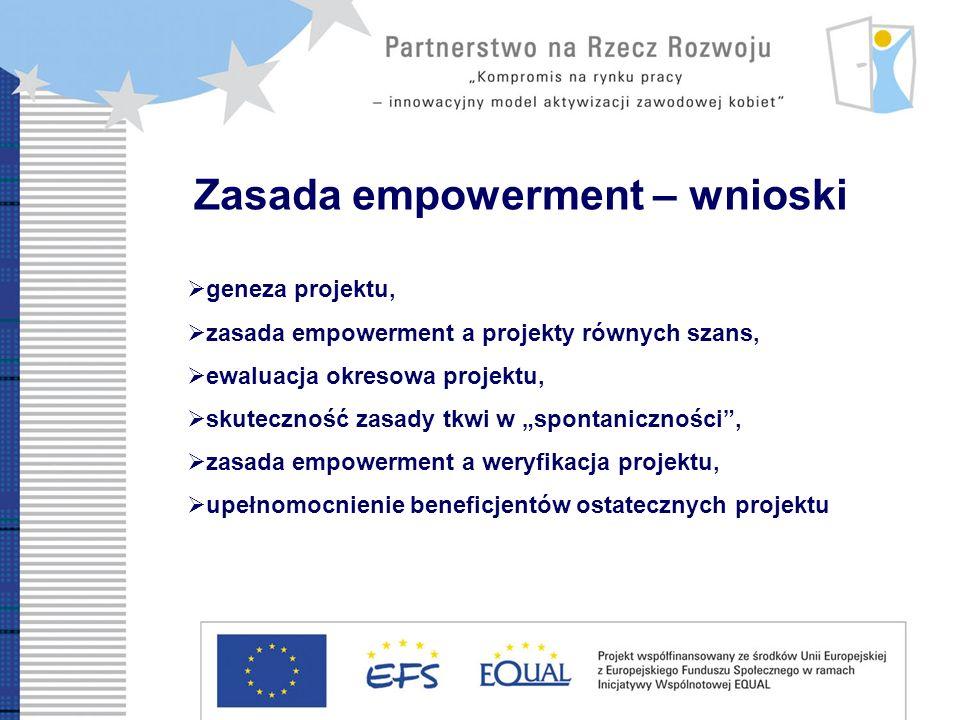 Zasada empowerment – wnioski geneza projektu, zasada empowerment a projekty równych szans, ewaluacja okresowa projektu, skuteczność zasady tkwi w spontaniczności, zasada empowerment a weryfikacja projektu, upełnomocnienie beneficjentów ostatecznych projektu