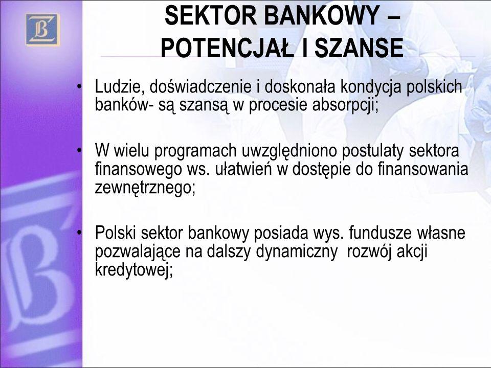 SEKTOR BANKOWY – POTENCJAŁ I SZANSE Ludzie, doświadczenie i doskonała kondycja polskich banków- są szansą w procesie absorpcji; W wielu programach uwzględniono postulaty sektora finansowego ws.