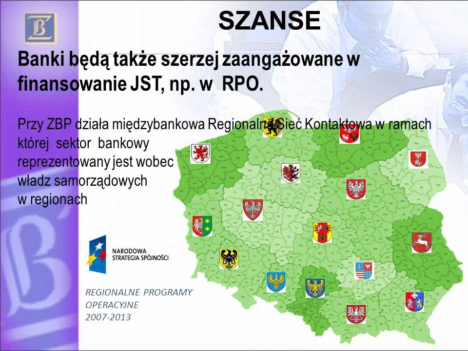 23 SZANSE Banki będą także szerzej zaangażowane w finansowanie JST, np. w RPO. Przy ZBP działa międzybankowa Regionalna Sieć Kontaktowa w ramach które