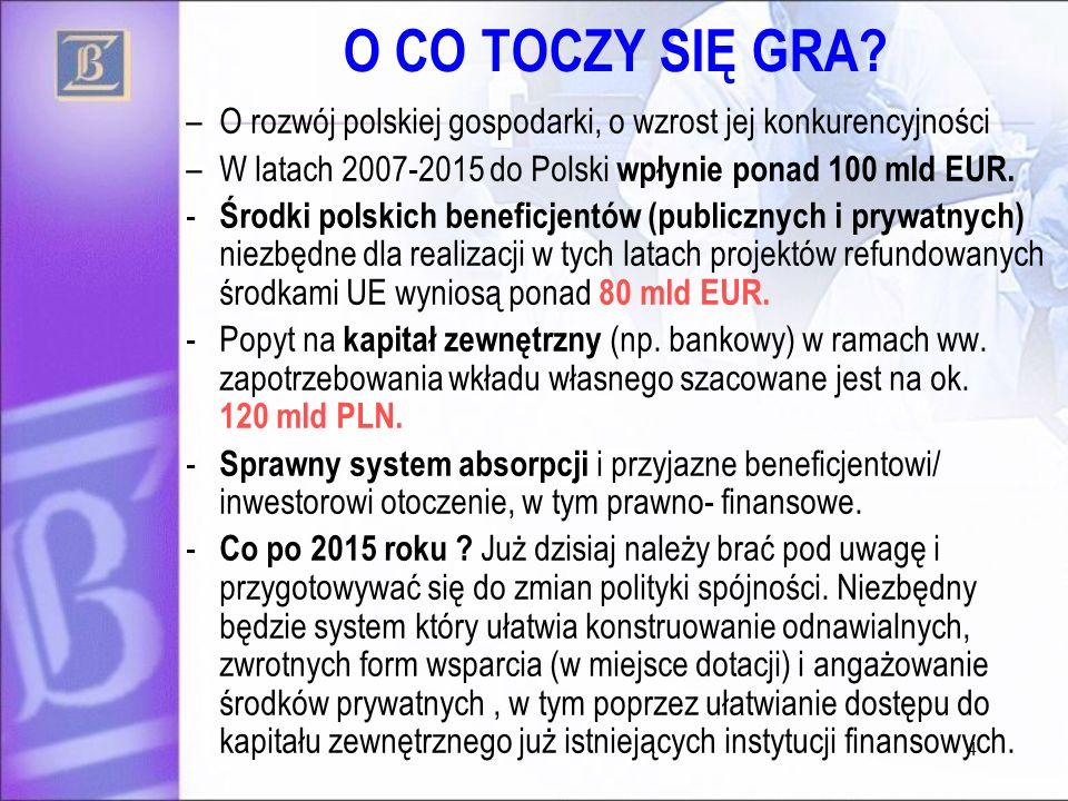 4 O CO TOCZY SIĘ GRA? –O rozwój polskiej gospodarki, o wzrost jej konkurencyjności –W latach 2007-2015 do Polski wpłynie ponad 100 mld EUR. - Środki p