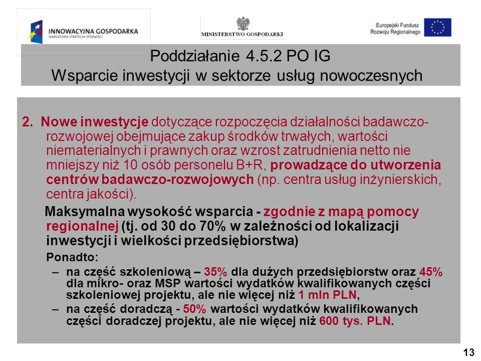 13 Poddziałanie 4.5.2 PO IG Wsparcie inwestycji w sektorze usług nowoczesnych 2.