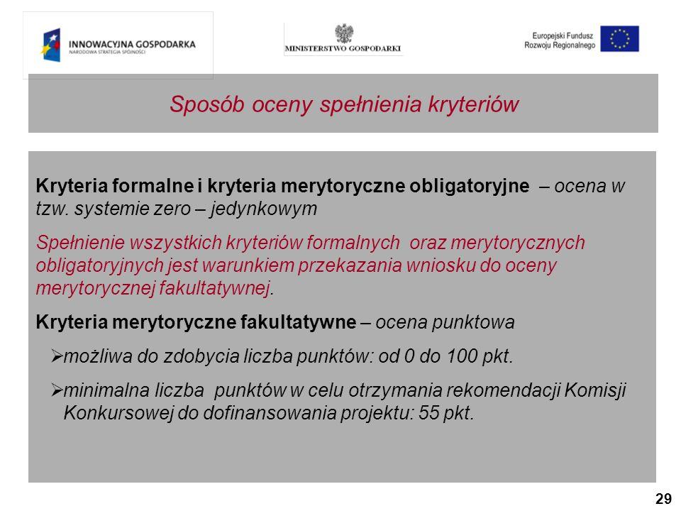 29 Kryteria formalne i kryteria merytoryczne obligatoryjne – ocena w tzw.