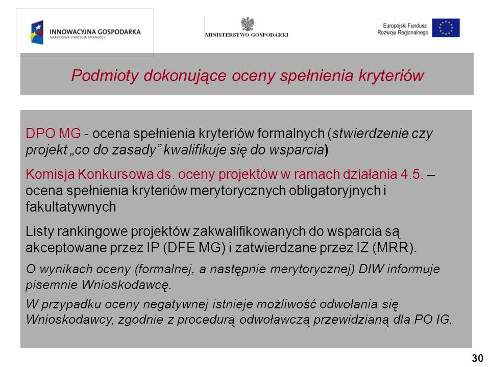 30 Podmioty dokonujące oceny spełnienia kryteriów DPO MG - ocena spełnienia kryteriów formalnych (stwierdzenie czy projekt co do zasady kwalifikuje się do wsparcia) Komisja Konkursowa ds.