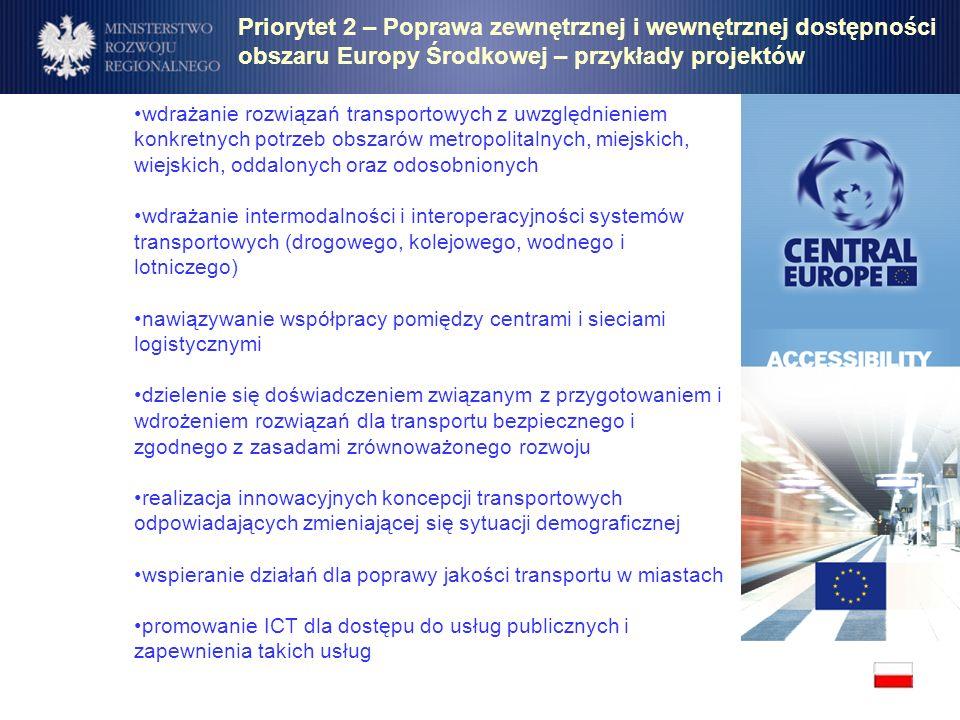 Priorytet 2 – Poprawa zewnętrznej i wewnętrznej dostępności obszaru Europy Środkowej – przykłady projektów wdrażanie rozwiązań transportowych z uwzglę