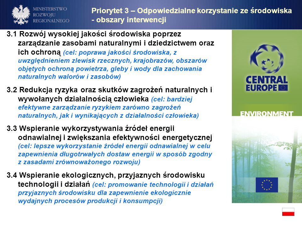 Priorytet 3 – Odpowiedzialne korzystanie ze środowiska - obszary interwencji 3.1 Rozwój wysokiej jakości środowiska poprzez zarządzanie zasobami natur