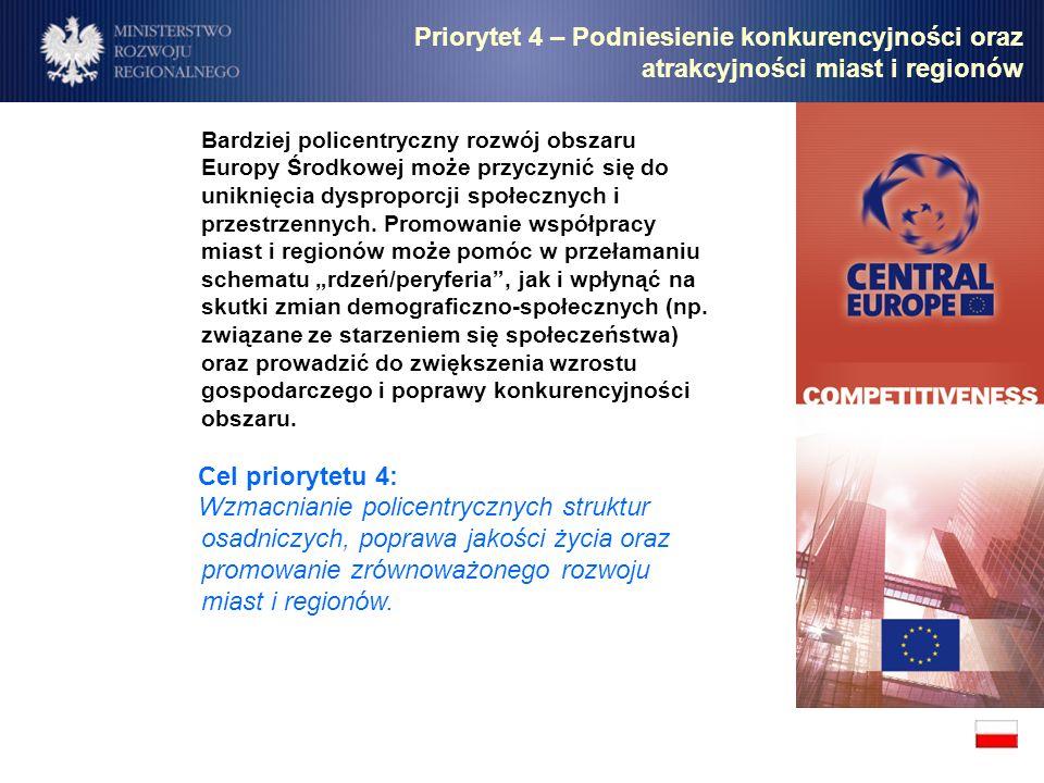 Bardziej policentryczny rozwój obszaru Europy Środkowej może przyczynić się do uniknięcia dysproporcji społecznych i przestrzennych. Promowanie współp