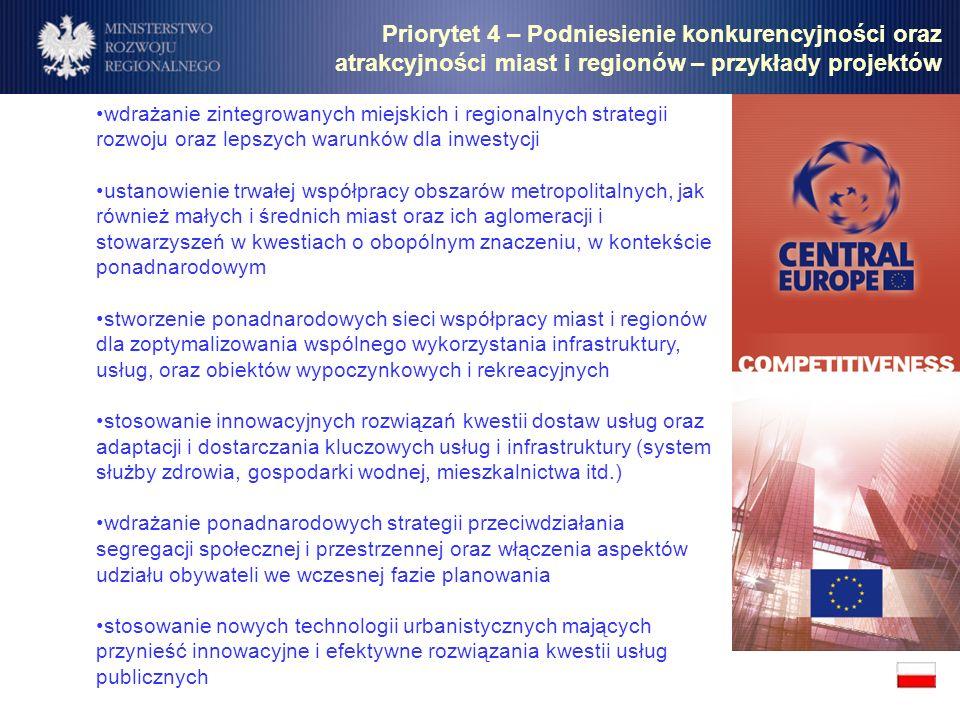 Priorytet 4 – Podniesienie konkurencyjności oraz atrakcyjności miast i regionów – przykłady projektów wdrażanie zintegrowanych miejskich i regionalnyc
