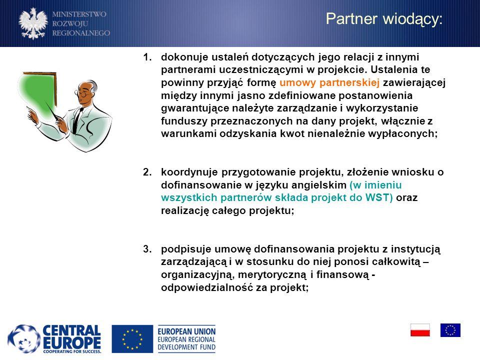 Partner wiodący: 1.dokonuje ustaleń dotyczących jego relacji z innymi partnerami uczestniczącymi w projekcie. Ustalenia te powinny przyjąć formę umowy