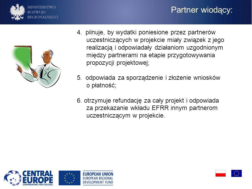 Partner wiodący: 4. pilnuje, by wydatki poniesione przez partnerów uczestniczących w projekcie miały związek z jego realizacją i odpowiadały działanio