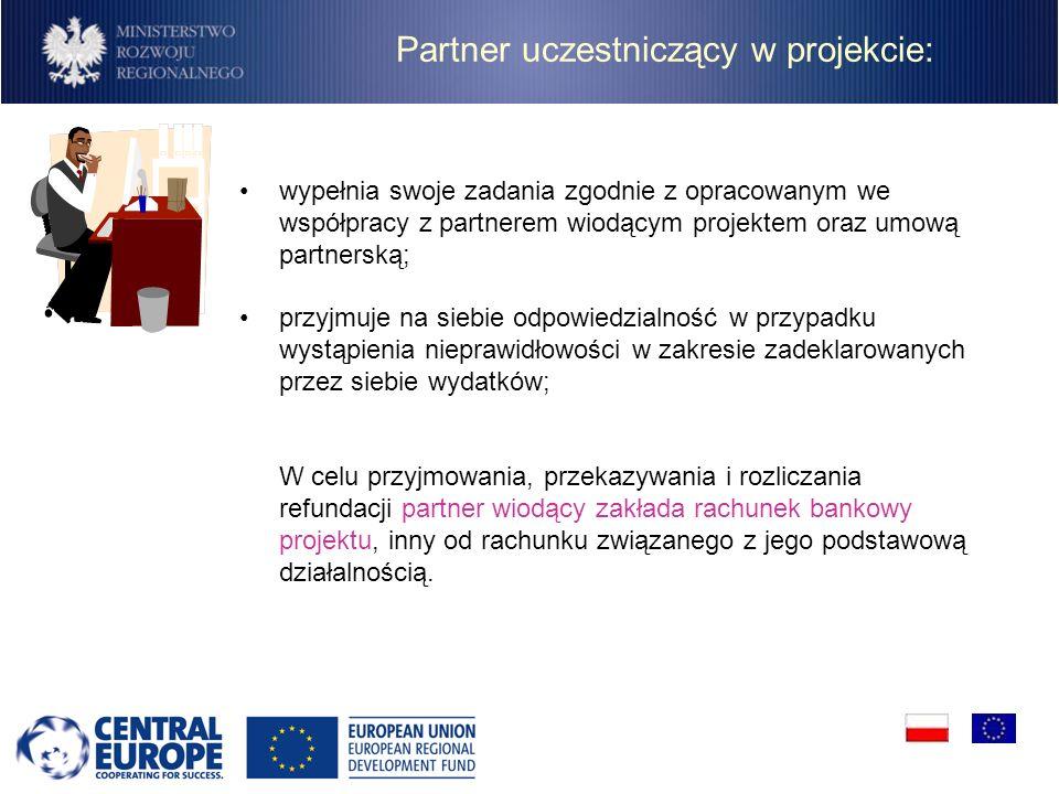 Partner uczestniczący w projekcie: wypełnia swoje zadania zgodnie z opracowanym we współpracy z partnerem wiodącym projektem oraz umową partnerską; pr