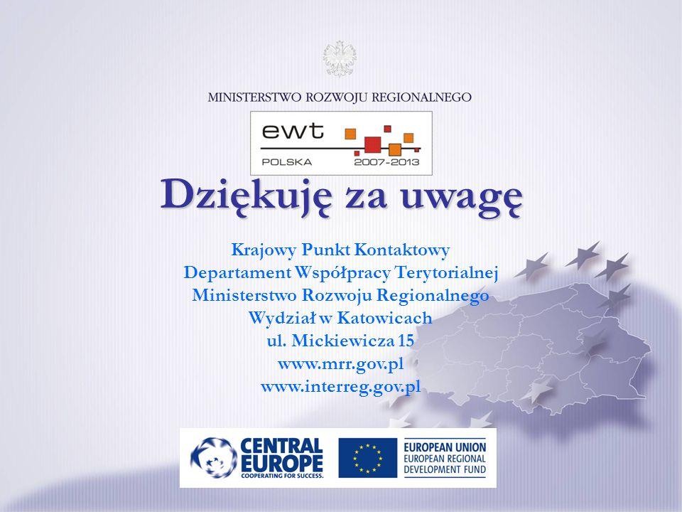 Krajowy Punkt Kontaktowy Departament Współpracy Terytorialnej Ministerstwo Rozwoju Regionalnego Wydział w Katowicach ul. Mickiewicza 15 www.mrr.gov.pl