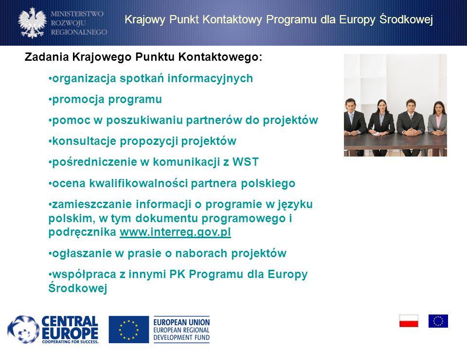 Krajowy Punkt Kontaktowy Programu dla Europy Środkowej Zadania Krajowego Punktu Kontaktowego: organizacja spotkań informacyjnych promocja programu pom